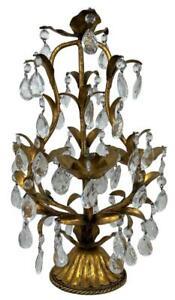Vtg Italian Florentine Gilded Tole Crystal Girandole Candelabra Table Chandelier