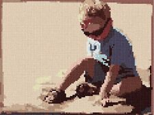 Playing In The Sand Needlepoint Canvas (Kids/Ocean/Shell)