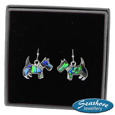 Westie Dog Earrings Paua Abalone Shell Womens Silver Fashion Jewellery 25mm Drop