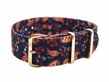 HNS Zulu Graphic Printed Vintage Paisley Nylon Diver ZULU MOD Rose Gold Buckle