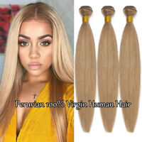 Dark Blonde Virgin Human Hair Weave Extensions 3Bundles/300G Peruvian HOT Weft F