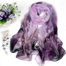 New Fashion Women Purple Lotus Flower Print Long Chiffon Scarf Wrap Shawl Stole