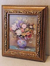 "Flowers in China Pitcher Oil Painting on Paper 4"" x 5"" (Framed)"