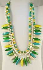 """Multi Color Howlite White Freshwater Pearl Triple Strand Necklace 18"""" TCW 496.00"""