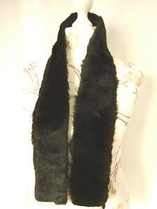 Echarpe col fausse fourrure noir Parfait état 120x10cm   47x4 inch