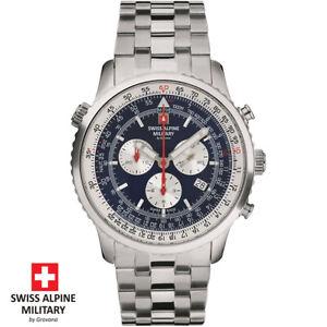 Swiss Alpine Military by Grovana 7078.9135 Chrono blau silber Herren Uhr NEU