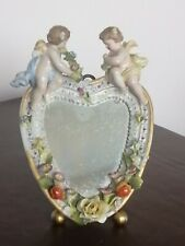More details for antique continental porcelain framed mirror with cherubs & flowers