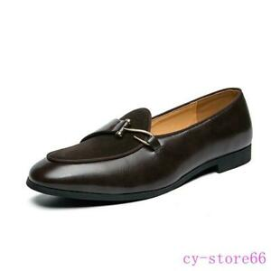 Mens Leather Suede Splice Driving Moccasin Gomminos Casual Slip on Loafers Shoes