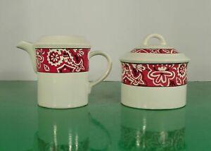 Studio Nova BANDANA RED Creamer and Covered Sugar Bowl Set