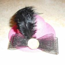 Pink Hat w/Plume & Black & Bow & Shiney Round Accent for Barbie Doll