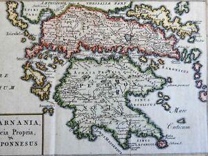 Ancient Greece Peloponnesus Attica Sparta Athens Corinth c. 1700 map