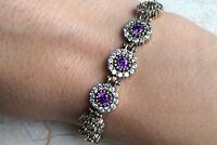 925 Sterling Silver Handmade Authentic Turkish Amethyst Ladies Bracelet