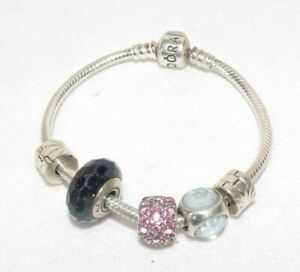AUTHENTIC STERLING SILVER PANDORA MOMENTS SNAKE CHAIN BRACLET CHARMS SPACERS SET