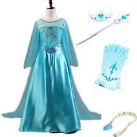 Kids Girls Elsa Frozen Dress + Accessories Gloves Wand Tiara Crown Cosplay Party