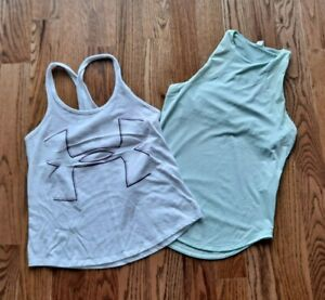 Under Armour Running Tennis Athletic Tank Tops Shirts Women's Size S (Lot of 2)