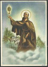 Holy card lamina antique grande de San Pascual Baylon estampa santino