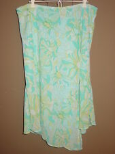 Lane Bryant blue flowy layered skirt floral print assymetrical slit hem-18/20 2X