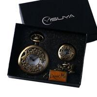 Alice In Wonderland Rabbit Pendant Necklace Quartz Pocket Watch Set+ Gift Box