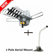 J-Pole Mast Mount + Outdoor HDTV 36dB Rotor Antenna Remote 360°150 Miles HD TV