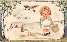 Valentine postcard cute girl A Letter of Love ca 1912 Tuck