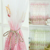 KE_ Sheer Curtain Butterfly Tulle Print Panel Window Balcony Door Room Divider