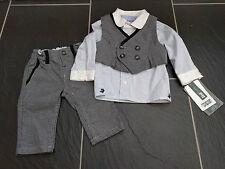 Mamas & Papas Ragazzi Edizione Limitata 3 Pezzo Tuta Pantaloni Grigio Gilet Camicia 3M