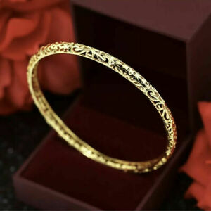 9ct 9k Yellow Gold Filled Ladies Love Carved Bangle Bracelet 65mm Gift Pouch
