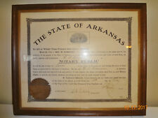 Antique 1910 Framed Notary Public State of Arkansas Official Seal Documents