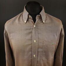 LAcoste Mens THCK Shirt 44 (XL) Long Sleeve Beige Regular Fit  Cotton