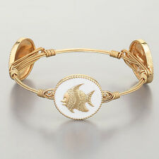 Gold Wire Wrapped White Sea Shell Star Fish Sea Life Inspired Bangle Bracelet