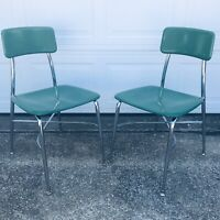 Set Of Green Mid Century Heywood Wakefield School Chairs Heywoodite Hard To Find