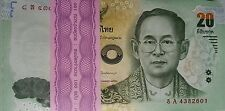 Lot of 10-THAILAND P-NEW, 20 Baht, King Ramkhamhaeng  NEW SIGN & DESIGN UNC