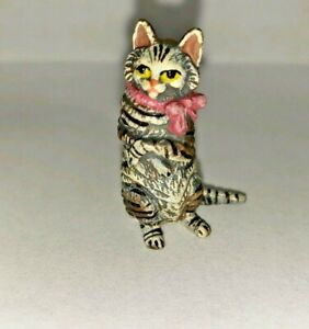 ANTIQUE VIENNA BRONZE Kitten with pink ribbon BERGMANN COLD PAINTED, MARKED;NOS