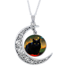 Glass Crescent Moon Necklace Cat Photo Tibet Silver Cabochon