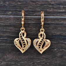Fashion Women Clear Zircon CZ Laser Stamped Romantic Love Hearts Dangle Earrings