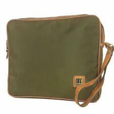 Auth dunhill Vintage Logos Nylon Canvas Leather Clutch Bag France F/S 7912b