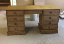 Waxed Pine Double Pedestal Dressing Table with lift up middle top section