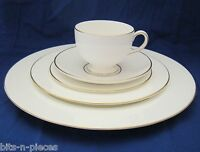 WEDGWOOD GLOUCESTER  W3988 5 pc place setting 3 plates cup saucer white & gold