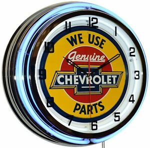 """19"""" We Use Genuine Chevrolet Parts Sign Blue Double Neon Clock Chevy"""