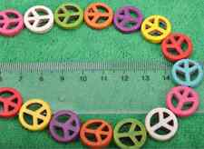 40pcs Multicolor Turquoise peace sign coin Loose Beads Making Jewelry bead
