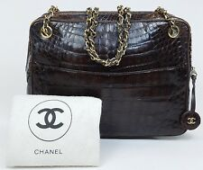 AUTHENTIC Vintage CHANEL Alligator Crocodile Skin Bag Chain Tote Purse Brown 794
