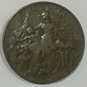 1901 France 10 Centimes Coin