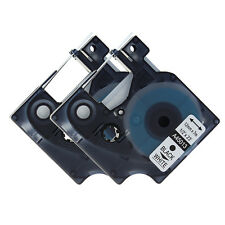 "2PK Black on White Label Tape Compatible for DYMO 45013 12mm 1/2"" D1 S0720530"