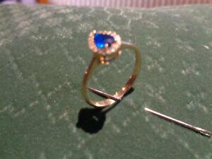 Damenring 585 gelb gold gebraucht mit Stein