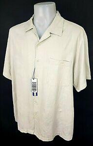 "CARIBBEAN Mens Pale Grey Silk/Cotton S/S HAWAIIAN SHIRT - XL - Chest 54"" - £59"