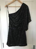 Jessica Simpson Black Matt Sequin One Shoulder Cape Dress Size 8 ( US 6)