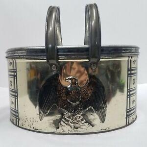 Trichem Vintage Aluminum Sewing Basket Eagle Motif With Inside Holder Lid Ring