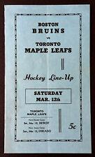 1950 Boston Gardens Hockey Lineup Card Bruins vs Toronto Maple Leafs NHL Barilko