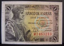 1943 Spain, Bank of, 1 Peseta Note, Nice CU              ** FREE U.S SHIPPING**
