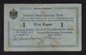 German East Africa.  1915 1 Rupie.. Series A..  Blue-Gray paper..  VF